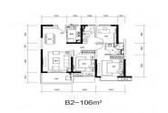 B1户型, 4室2厅2卫1厨, 建筑面积约136.00平米