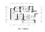 B2户型, 3室2厅2卫1厨, 建筑面积约106.00平米