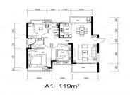 A1户型, 3室2厅2卫1厨, 建筑面积约119.00平米